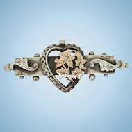 Antique silver love heart wedding gift brooch 1913