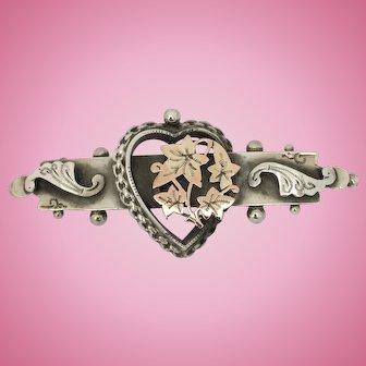 Antique silver love heart wedding gift brooch 1913