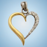 18ct Gold Diamond Love Heart Pendant