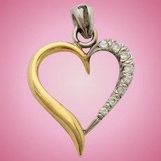 18ct Gold Diamond Love Heart Pendant