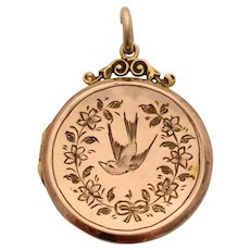 Antique 9ct rose gold locket with pretty swallow bird decoration 1916