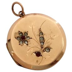 Antique 9ct gold back and front locket with forget me not decoration
