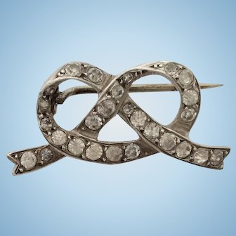 Edwardian Silver and Paste Love Knot Brooch Pin
