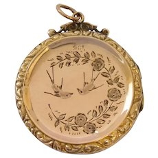 Edwardian 9ct Rose Gold Back and Front Locket With Swallow Bird Decoration