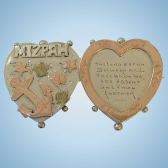 Superb Antique Silver & Rose Gold Mizpah Brooch Pin 1904