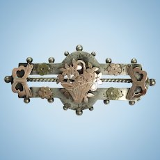 Aniqtue silver and gold flower basket brooch pin 1900