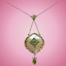 Art Nouveau 9ct Rose Gold & Silver Peridot Pendant Necklace