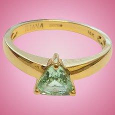 18ct Gold Trillion Cut Aquamarine Iliana Ring Size 7 3/4