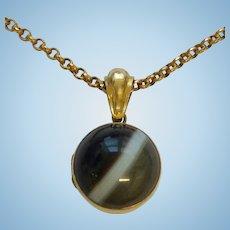 Antique Rolled Gold Banded Agate Orb Mourning Pendant and Chain