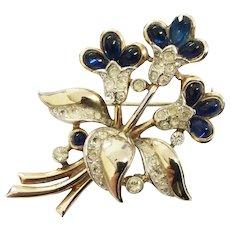 Vintage Crown Trifari Cabochon Sapphire Glass Flower Brooch