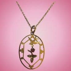 Edwardian 9ct Gold Garnet & Pearl Swallow Bird Pendant & Chain