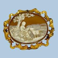 Antique Sardonyx Shell Cameo Country Scene Brooch Pin