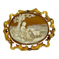Antique Sardonyx Shell Cameo Country Scene Brooch Pin