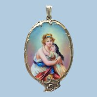 Antique Silver Hand Painted Miniature Of Madame Le Brun Chatelaine Mirror Pendant