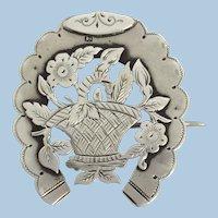 Antique English Silver Flower Basket Brooch Pin 1888