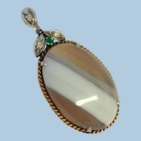 Antique Gold Mounted Diamond Emerald and Banded Agate Pendant