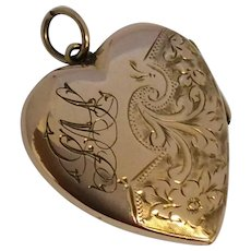 Antique Rose Gold Puffy Love Heart Locket Pendant With Monogram