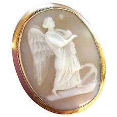 Antique Carved Shell Cameo Angel of Hope Brooch Pin