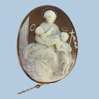 Superb 9ct gold Sardonyx Shell Cameo Madonna & Child With John The Baptist