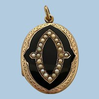 Antique Gold Black Enamel & Seed Pearl Mourning