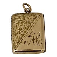 Antique 9ct Rose Gold Oblong Locket With Monogrammed Decoration