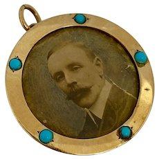 Antique Arts & Crafts 9ct Rose Gold Turquoise Locket Pendant 1904