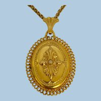 Vintage French Gold Fix & Pearl Fancy Locket & Chain
