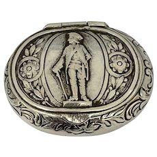 Antique German Breslau City 800 Silver Snuff Trinket Box Circa 1860