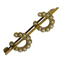 Antique Gold & Pearl Double Horseshoe Brooch Pin