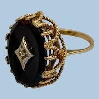 Vintage 10k Gold Diamond & Black Onyx Statement Ring