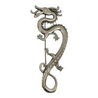 Boutique English Designer Pruden & Smith Chinese Dragon Silver Brooch