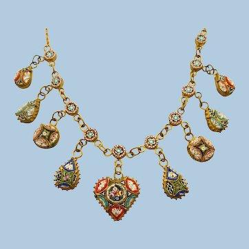 Antique Italian Micro Mosaic Lavalier Love Heart Necklace