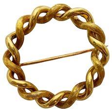 Genuine Vintage 1960's 18k Gold Tiffany & Co Circle Brooch Pin