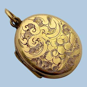 Antique Petite Rolled Gold Locket Circa 1850