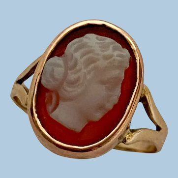 Antique 9ct Gold Carved Carnelian Hardstone Cameo Ring