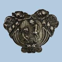 Superb Art Nouveau Cherub Angel Unger Bros Silver Brooch