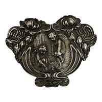 Superb Art Nouveau Cherub Angel Unger Bros Silver Brooch