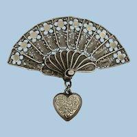 Antique Italian Silver Filigree Love Heart Fan Brooch