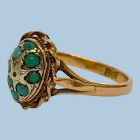 Victorian 15ct Rose Gold Turquoise Ring Size 8 1/2