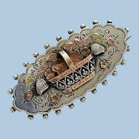 Antique English Silver & Rose Gold Flower Basket Brooch Pin