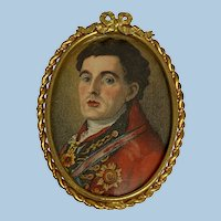 Vintage Brooch with A Miniature On Silk Of The Duke of Wellington