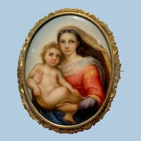Superb Antique Miniature Painting Of Sistine Madonna Gold Cased Brooch