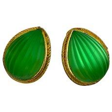 Vintage Farah Lister London Lime Green Glass Clip on Earrings
