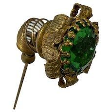 Antique Forest Green Glass & Brass Trembler Hat Pin