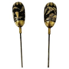 Pair Antique Chinese Damascene Hat Pins
