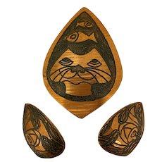 Moda Copper Pussy Cat & Fish Brooch & Earrings
