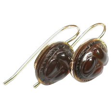 Antique Victorian 18k 18ct Gold carved Amber SCARAB BEETLE Earrings