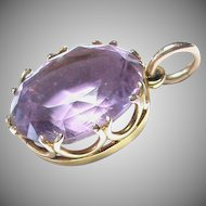 Antique 9k 9ct Gold AMETHYST Drop Pendant