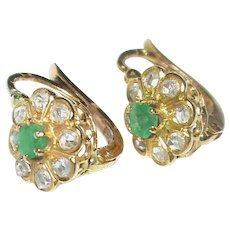 Antique French 18k 18ct Gold Diamond Emerald Earrings