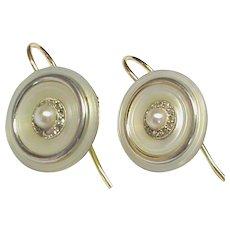 Antique Edwardian 18k 18ct Gold cultured Pearl & rose cut Diamond Earrings